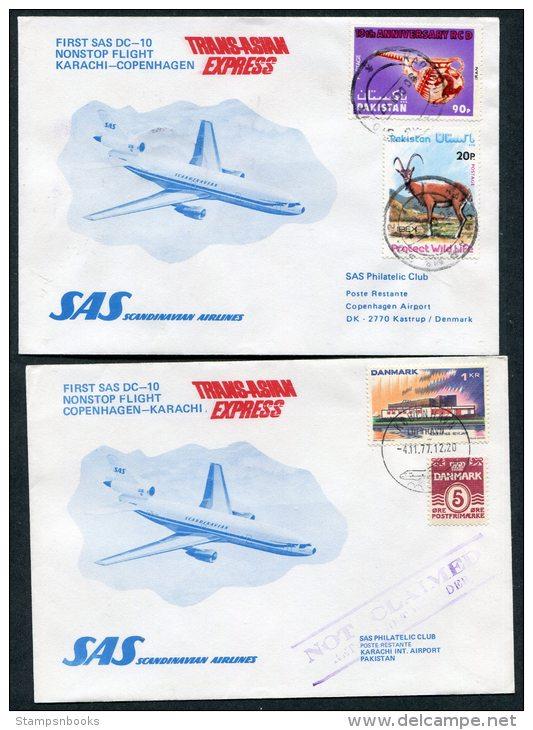 1977 Pakistan Denmark Karachi / Copenhagen SAS First Flight Covers (2) - Pakistan