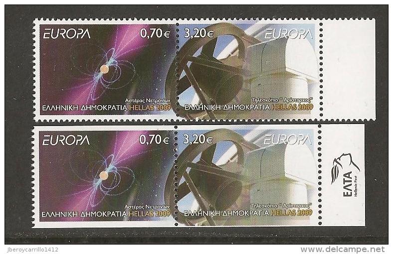 """GRECIA /GREECE / GRIECHENLAND - EUROPA 2009 - TEMA """"ASTRONOMIA"""" -SERIE 2 V. N + SERIE De CARNET 2 LADOS SIN DENTAR - Europa-CEPT"""
