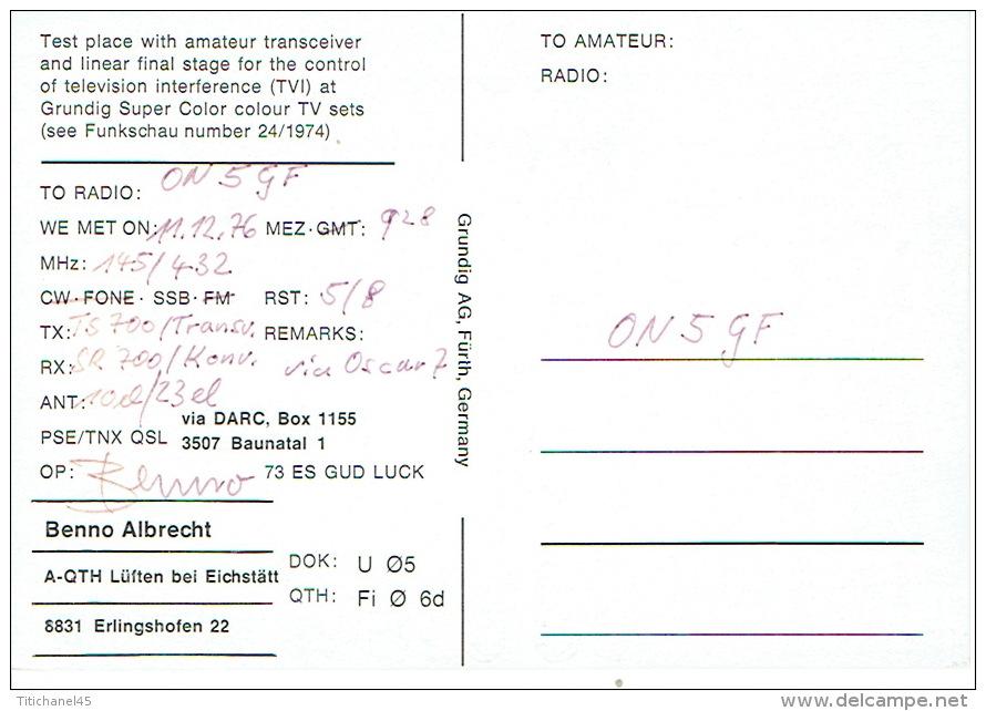QSL - GERMANY - DC6IU - BENNO ALBRECHT - ERLINGSHOFEN - 1976 - Publicité GRUNDIG - Radio Amateur