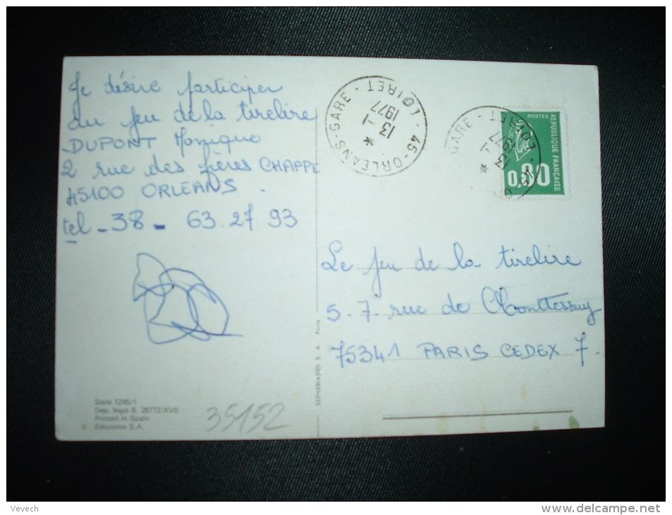 CP JEUNE FILLE TP MARIANNE DE BEQUET 0,80 OBL.13-1-1977 45-ORLEANS-GARE LOIRET (45) - Railway Post