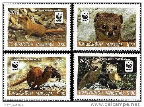 Tajikistan 2013 WWF Altai Weasel 4v MNH - Tajikistan