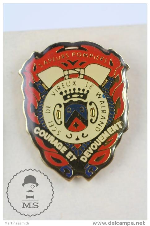 Sapeurs Pompiers Vireux-Wallerand, France - Fireman/ Firefighter Pin Badge #PLS - Bomberos