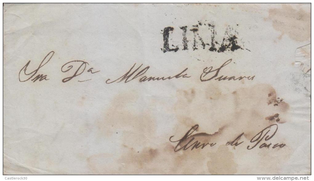 G)1847 PERU, LIMA LINEAL BLACK CANC., CIRCULATED COMPLETE LETTER, XF - Peru