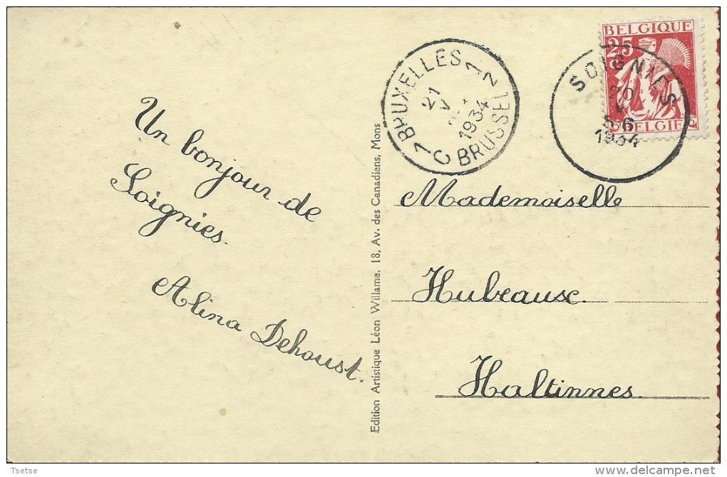 Soignies - Square De La Station - 1934 ( Voir Verso ) - Soignies