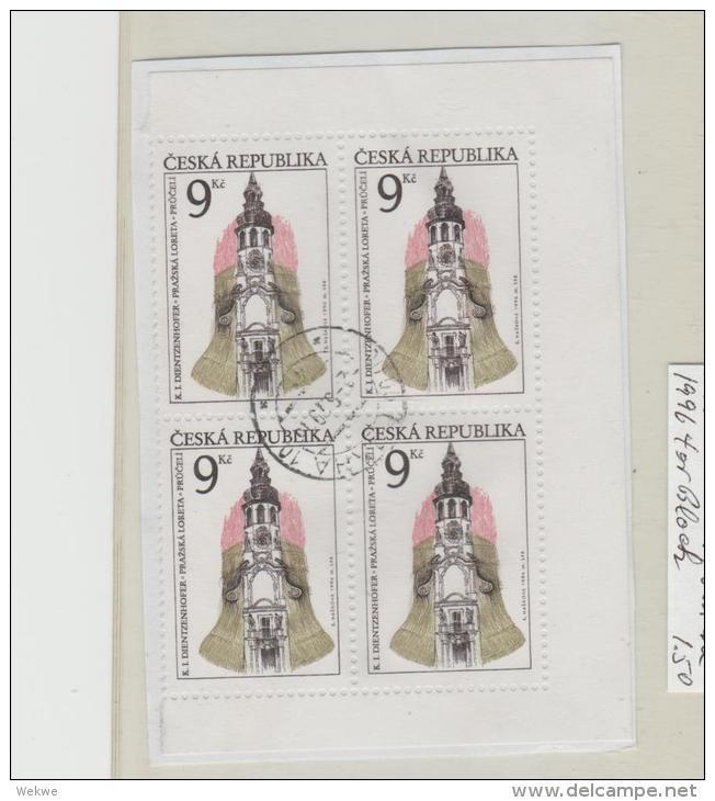Tschechien 008/  Kirche 1996, 4-er Block  O - Gebraucht