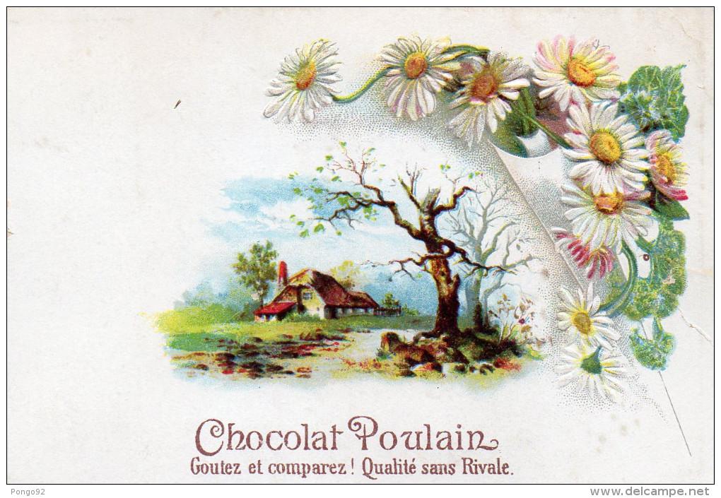 Image Publicitaire Chocolat POULAIN Paysage Et Fleurs En Léger Relief  (choc5) - Cioccolato