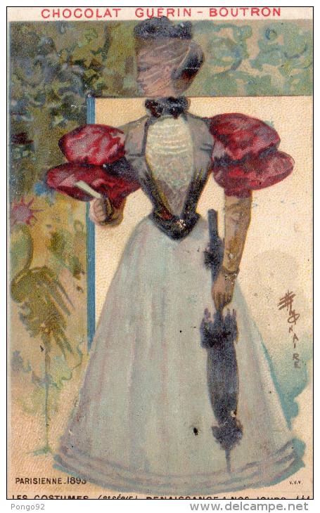 Image Publicitaire Chocolat  GUERIN BOUTRON, Voilage Sur Visage Parisienne 1893 (choc6) - Chocolat