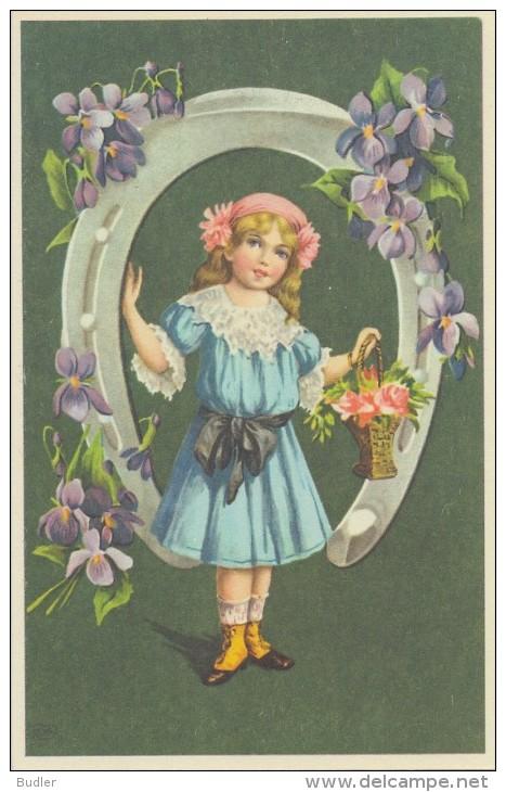 Illustration: FILLETTE Dans Un Fer à Cheval Garni De Fleurs - Art Nouveau - Repro D'une Carte Ancienne. - Enfants