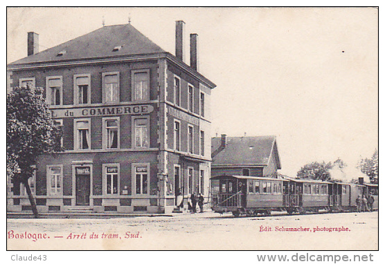Bastogne Arret Du Tram Sud Animé Circulé En 1908 - Bastogne