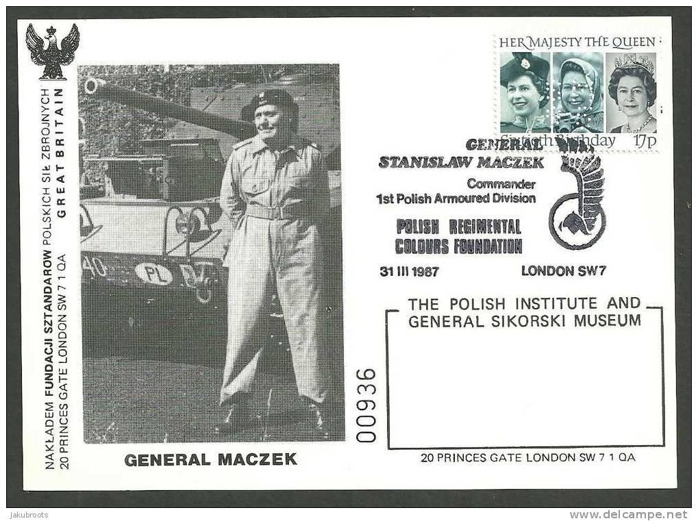 GENERAL S. MACZEK  COMMANDER 1st. POLISH ARMOURED  DIVISION 1987. - Gouvernement De Londres (exil)