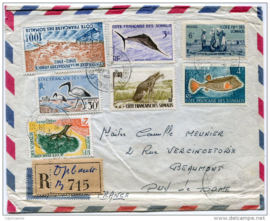 COTE FRANCAISE DES SOMALIS LETTRE RECOMMANDEE PAR AVION DEPART DJIBOUTI  21-9-1962 POUR LA FRANCE - Côte Française Des Somalis (1894-1967)