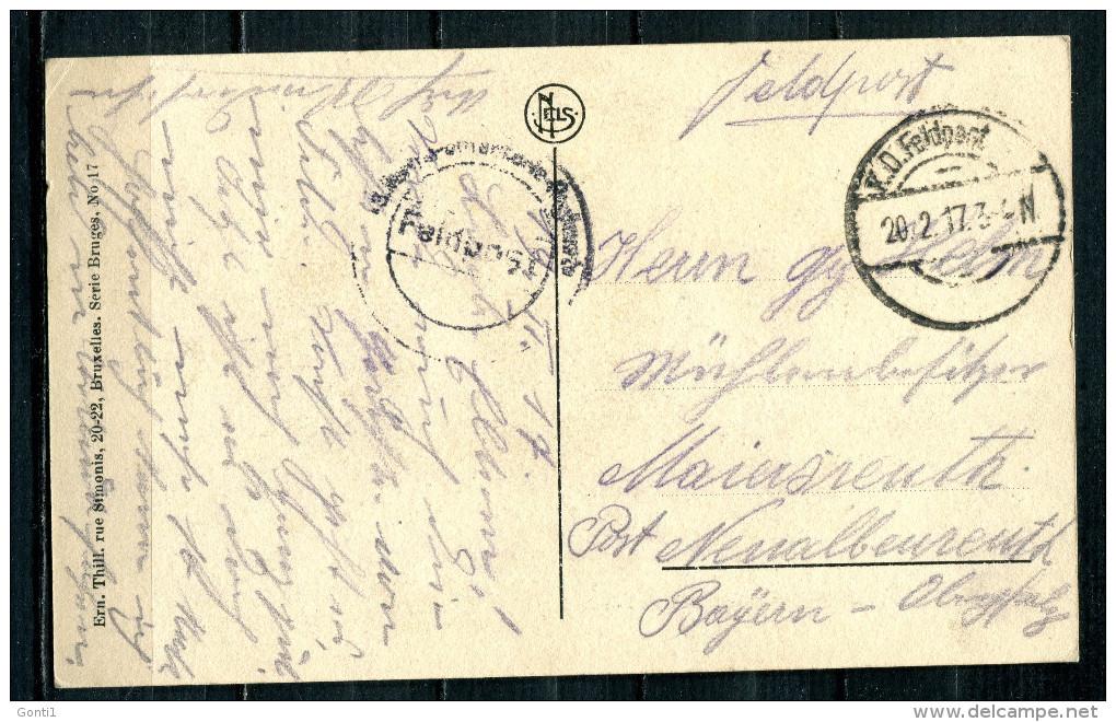 "CPA S/w AK Belgien Bruges/Brugge 1917 Allemagne Feldpost""Brugge-Brugeoise,belebt,Straßenbild "" 1 AK Used,bef. - Europe"