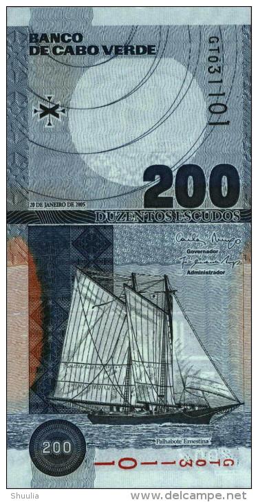 Cape Verde 200 Escudos 2005 Pick 68 UNC - Cabo Verde