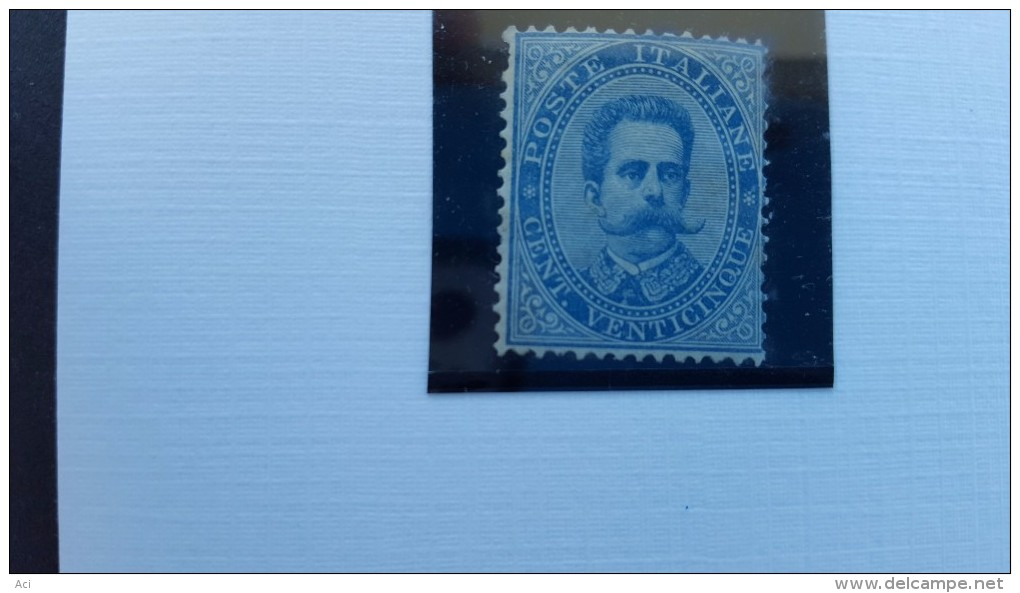 Italy1893 King 25c Blue MNH, One Short Perforation - Mint/hinged
