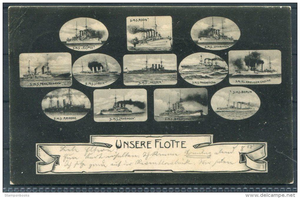 1905 Kriegsschiff Unsere Flotte Postkarte Kiel - Warships