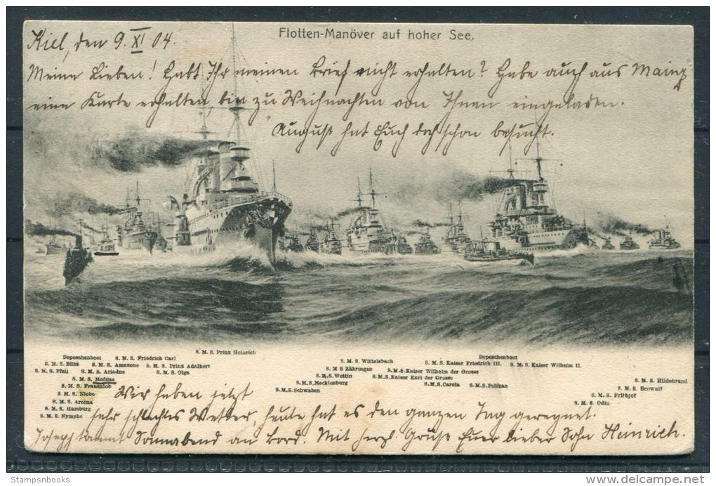 1904 Flotten Manover Auf Hoher See German Warships Postcard Kiel - Warships