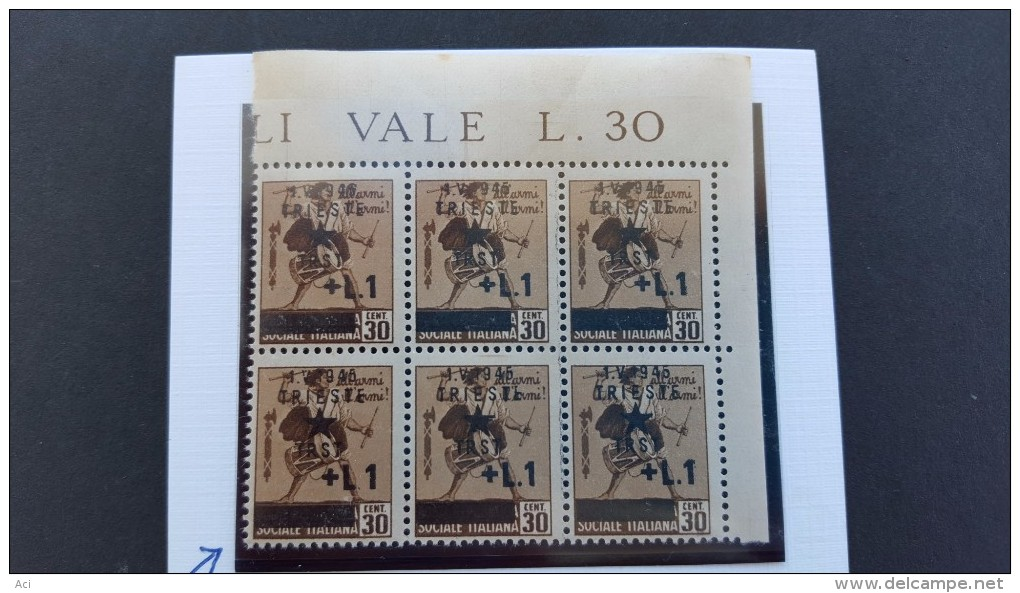 Italy Trieste 1940 30c Brown Variety, Sassone 3f, No Dot After L.MNH - 7. Trieste