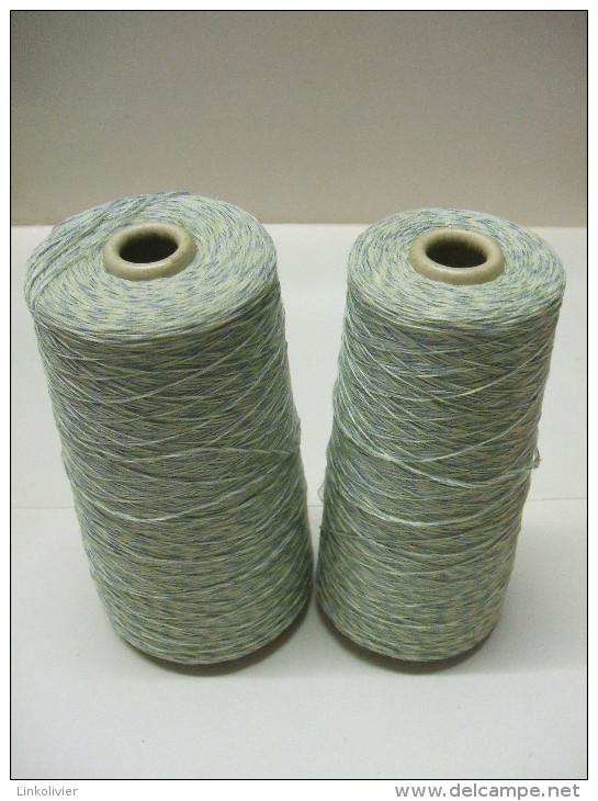 Lot 2 GROSSES BOBINES CONES Pelotes Fil Vert (laine Coton ?) - Wool