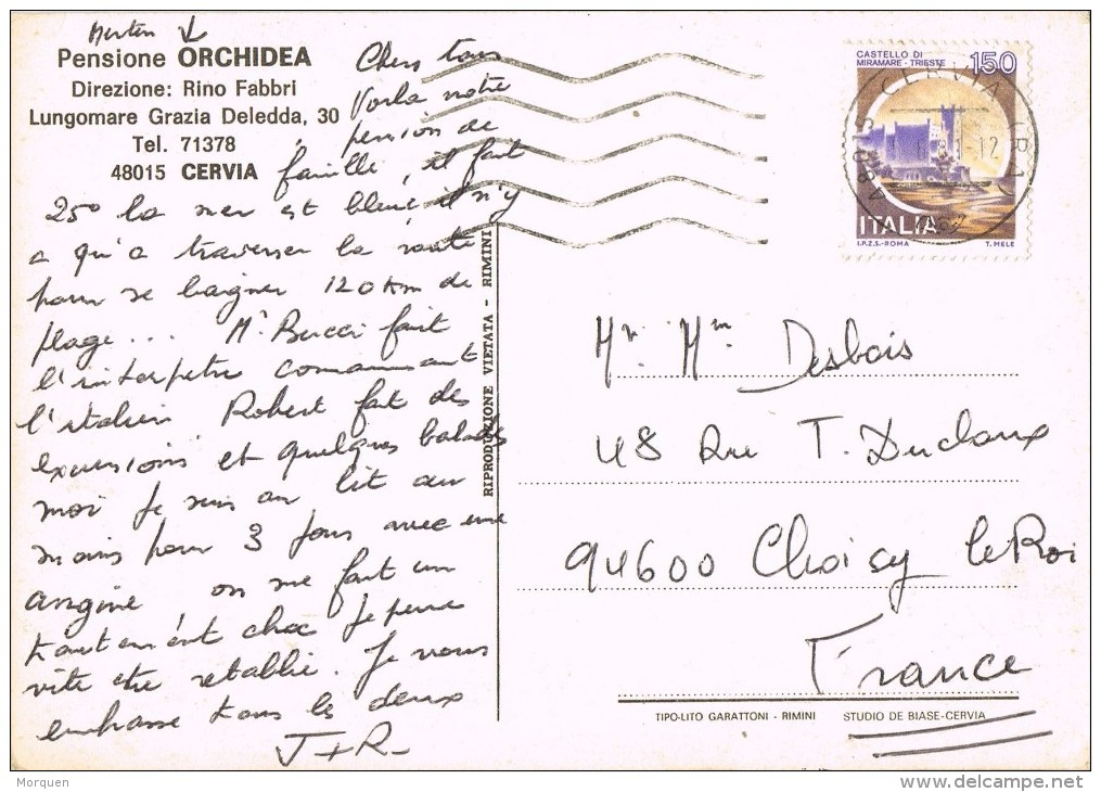 14313. Postal Privada CERVIA (Emilia Romagna) 1981. Pensione ORCHIDEA - 1981-90: Storia Postale
