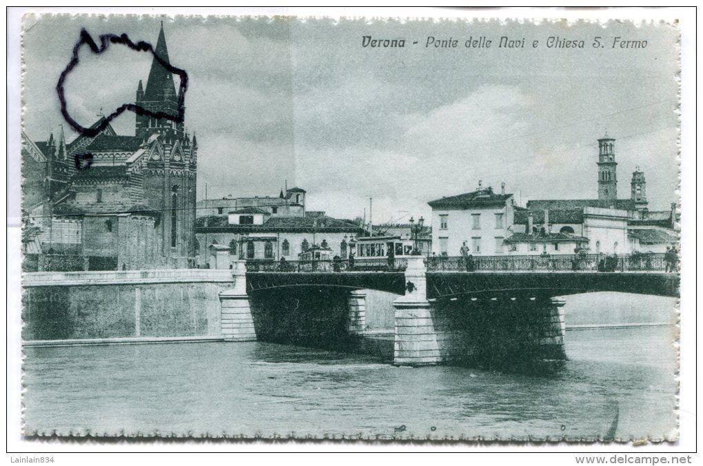- 10525 - Verona - Ponte Delle Navi E Chiesa S. Fiermo, Tramway, Splendide, Animation, Non écrite, TTBE, Scans. - Verona