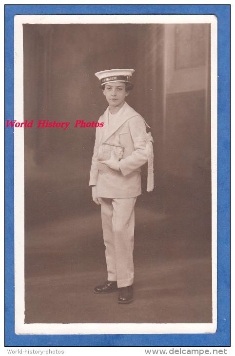Carte Photo - METZ - Portrait De Paul Guérin 1ere Communion - 1933 - Enfant Boy Chapeau De Marin Paquebot Normandie - Non Classés