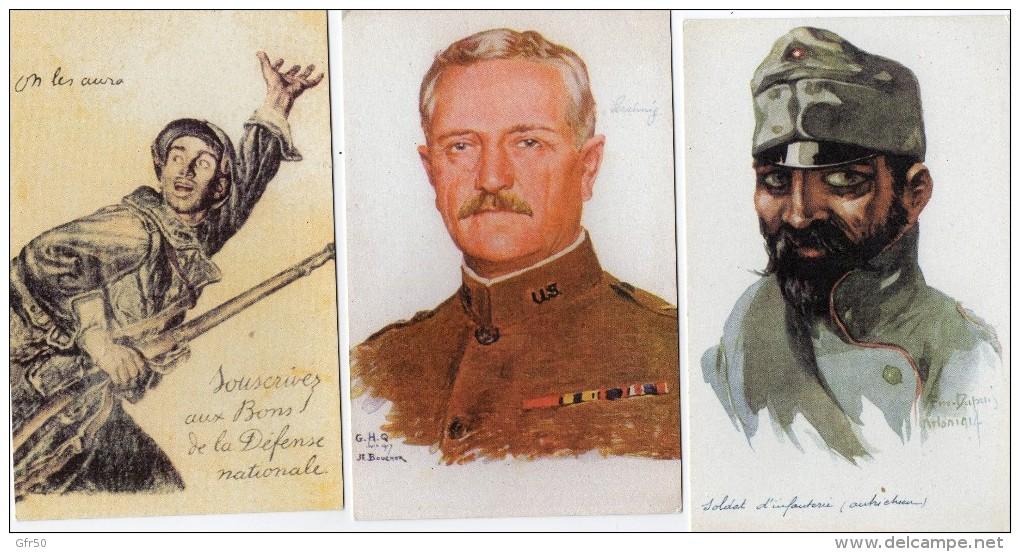 MILITARIA  -   3 Cartes  - Soldat D'Infanterie Autrichienne -  On Les Aura , Souscrivez Aux Bons De La Défense Nation - Characters