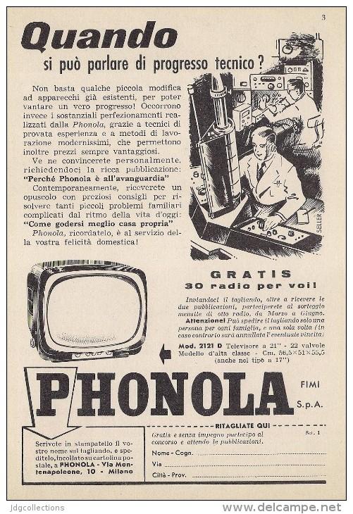 # PHONOLA TV TELEVISION ITALY 1950s Advert Pubblicità Publicitè Reklame Publicidad Radio TV Televisione - Televisione