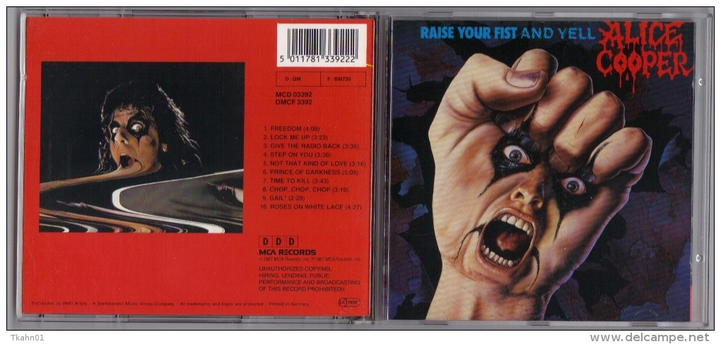 "ALBUM  C-D  ALICE COOPER  "" RAISE YOUR FIST AND YELL  ""  DE 1987 - Hard Rock & Metal"