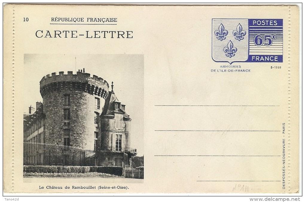 LBL30 - FRANCE CARTE LETTRE ARMOIRIES DE L'ÎLE DE FRANCE  NOIR SUR CARTON BLANC N°10 - Cartes-lettres
