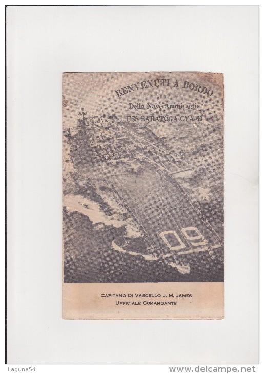PORTAEREI SARATOGA NAVE AMMIRAGLIA U.S.A. - DEPLIANT DI PRESENTAZIONE VISITA NAVE - ANNO 1964 - Material Und Zubehör