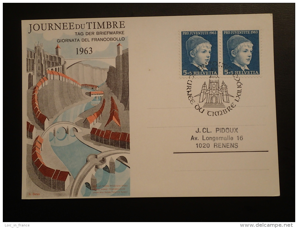 Carte Journée Du Timbre 1963 Fribourg Pont Bridge - Pro Juventute