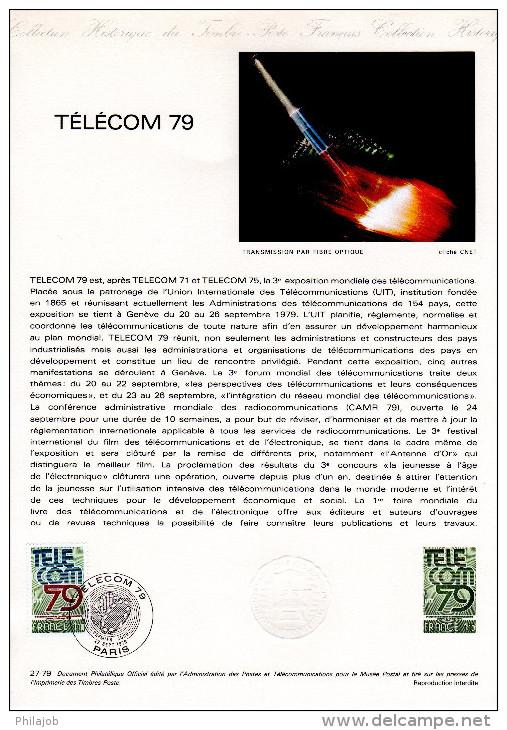 """FRANCE 1979 : Document Philatélique Officiel N°27-79 """" TELECOM 1979 """". Parfait état. DPO - Raumfahrt"""
