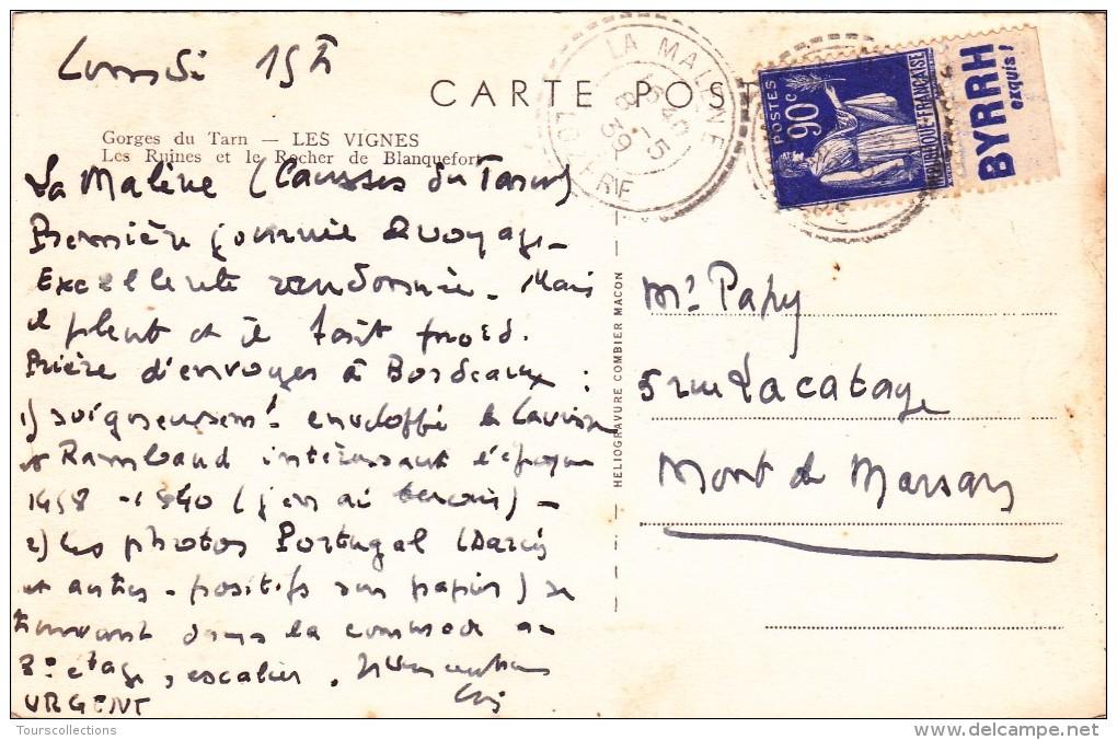 90 C Type Paix Outremer 1939 PUBLICITE BYRRH Sur Carte Postale @ Pub Boisson - Advertising