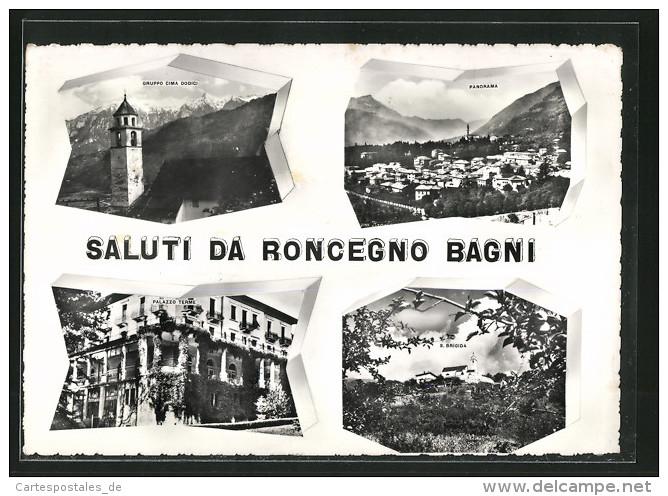 Cartolina Roncegno, Palazzo Terme, S. Brigida E Panorama - Italia