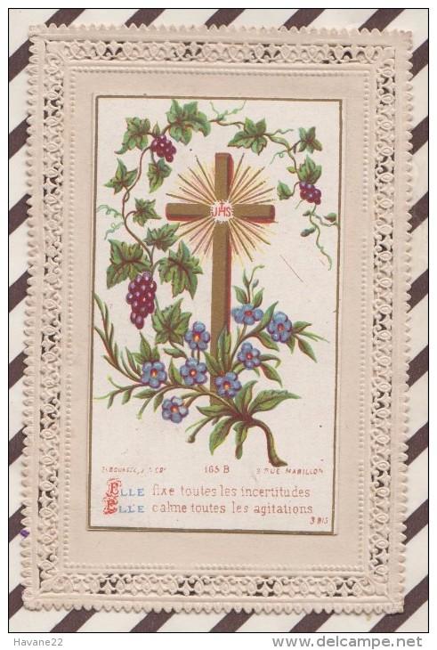 5AH2122 Image Pieuse Dentelle Canivet BOUASSE CROIX RAISINS - Images Religieuses