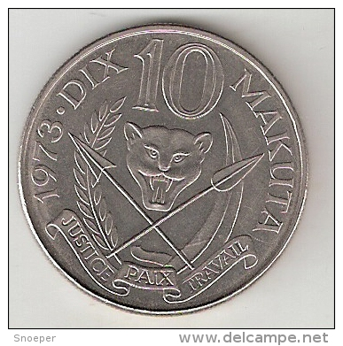 *zaire 10 Makuta 1973  Km 7  Unc !!! - Zaire (1971-97)