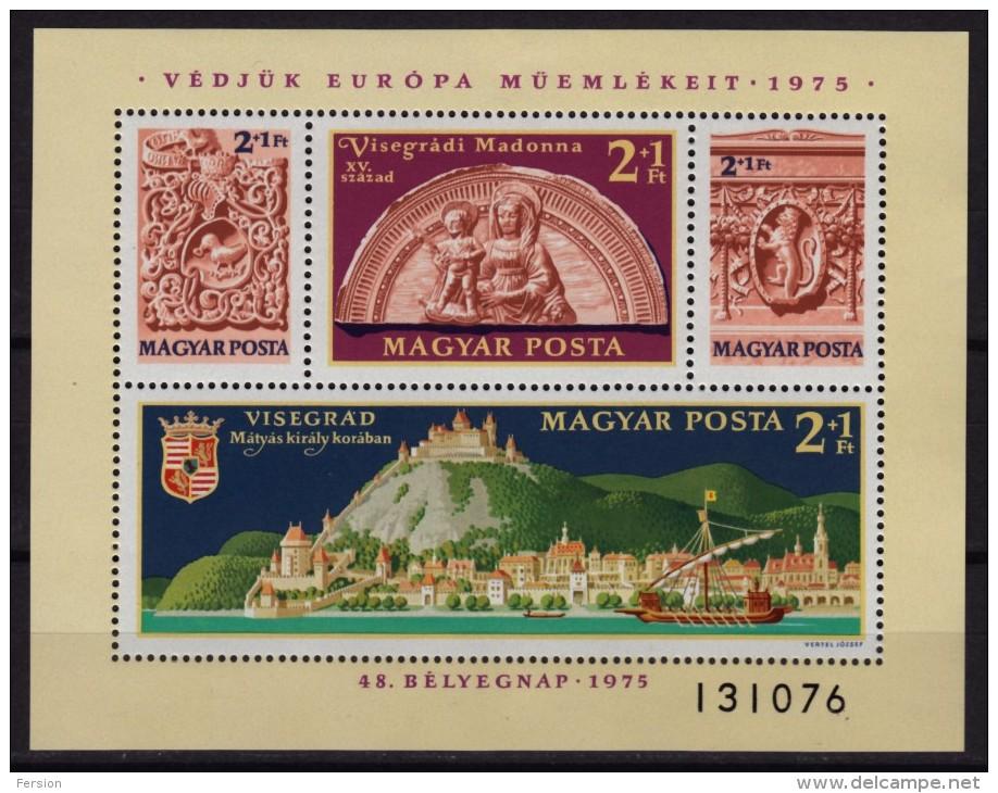 VISEGRÁD Castle + Danube + Ancient Ship - 15th Century - MNH Block - Hungary 1975 - Castles