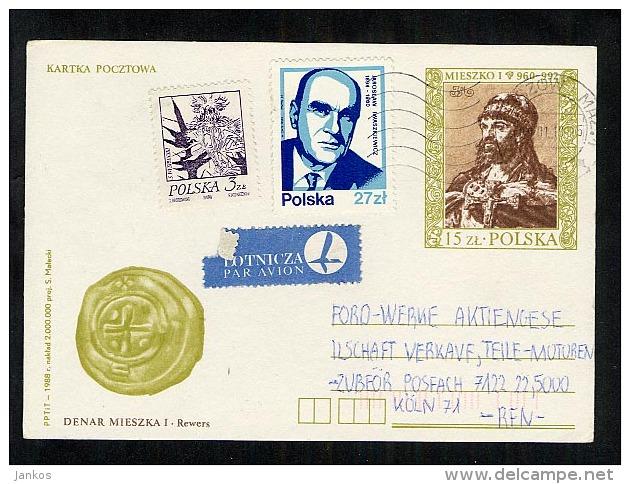 Poland Postal Stationery Postcard Used 1989 Mieszko 1 (Y677) - Stamped Stationery