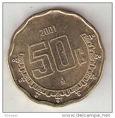 *mexico 50 Centavos 2001  Km 549  Unc - Mexico