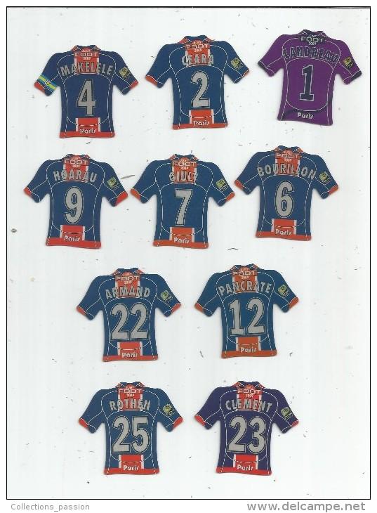 MAGNET , SPORT , FOOTBALL , Maillot équipe De PARIS SAINT GERMAIN , Just Foot , 2009 , LOT DE 10 MAGNETS - Sports