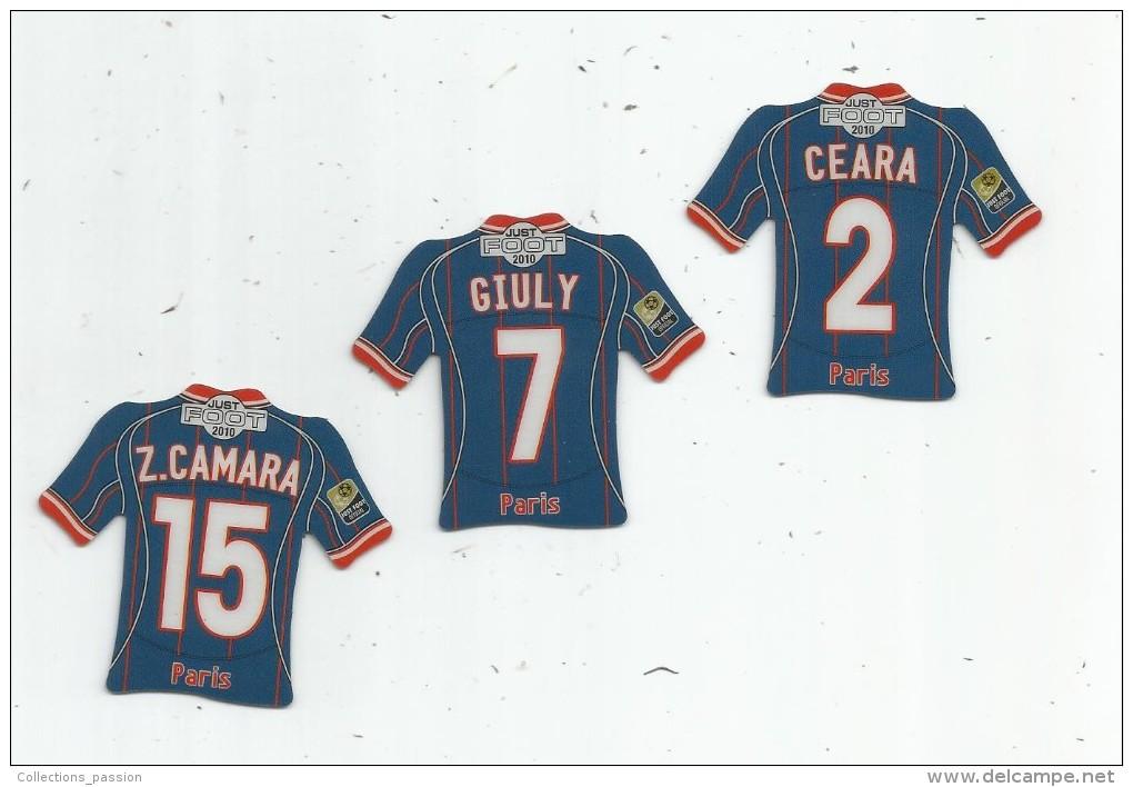 MAGNET , SPORT , FOOTBALL , Maillot équipe De LE PARIS SAINT GERMAIN , Just Foot , 2010 , LOT DE 3 MAGNETS - Sports