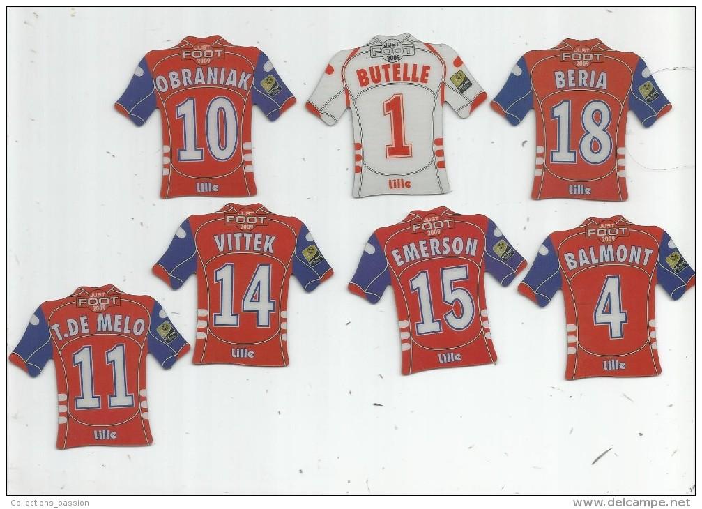 MAGNET , SPORT , FOOTBALL , Maillot équipe De LILLE , Just Foot , 2009 , LOT DE 7 MAGNETS - Sports