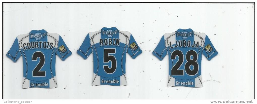 MAGNET , SPORT , FOOTBALL , Maillot équipe De GRENOBLE , Just Foot , 2010 , LOT DE 3 MAGNETS - Sports