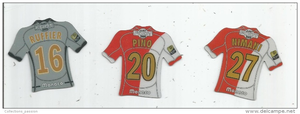 MAGNET , SPORT , FOOTBALL , Maillot équipe De MONACO  , Just Foot , 2009 , LOT DE 3 MAGNETS - Sports