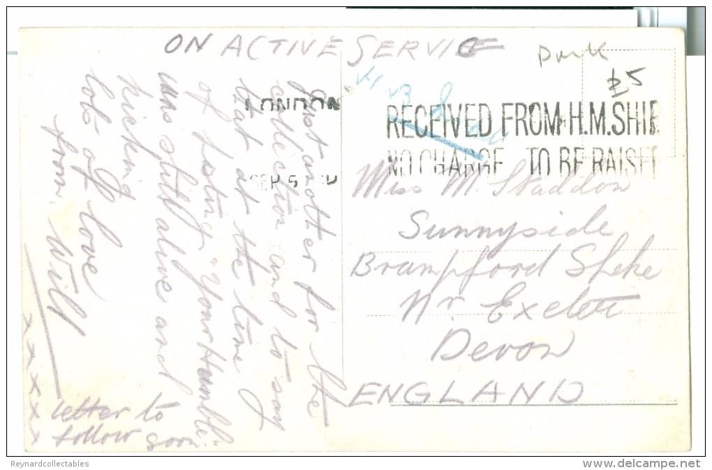 "WWI Malta St. John's Sq. Colour Pc Used ""HM Ship No Charge"" To UK - Malta"