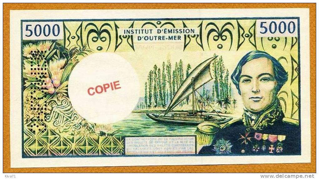"""Copie/Fac-similé 5000F """"BOUGAINVILLE"""" Specimen  UNC - Papeete (Polynésie Française 1914-1985)"""