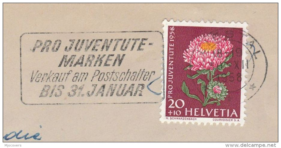 1958 SWITZERLAND COVER 20+10 Pro Jubentute FOWER Stamps SLOGAN Pmk PRO JUVENTUTE MARKEN  VERKAUF AM  POSTSCHALTER Flower - Pro Juventute