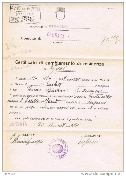 14442. Carta Impresos BARBATA (bergamo) 1938 , Fechador ANTEGNATE. Cambio Residencia - 1900-44 Vittorio Emanuele III