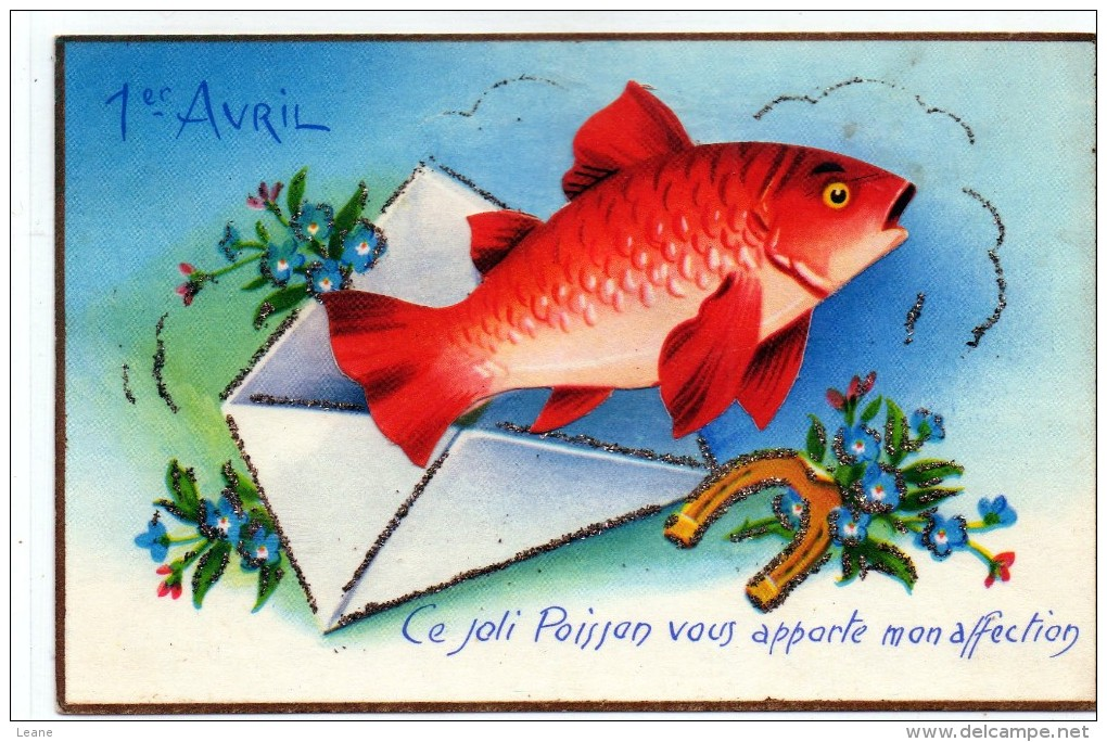 1er AVRIL - Poisson Rouge - Carte à Système - April Fool's Day