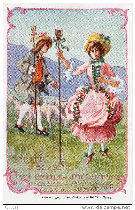Cpa Suisse Fête Des Vignerons Vevey En 1905, Berger Et Bergère  (47.24) - Vari